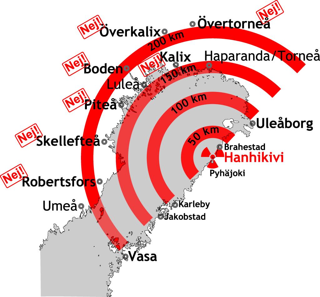 Kommuner som säger nej till kärnkraft vid Bottenviken.