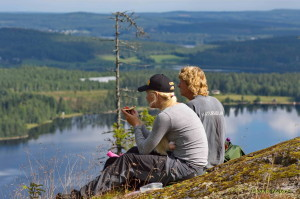 utsikt från toppen av Bjursjöaltaret i Bjursjöskogens naturreservat vid Bygdsiljum