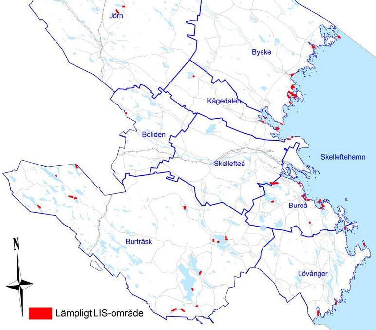 Kommunens utpekade lämpliga LIS-områden.